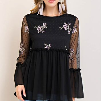 Mesh Floral Embroidery Peplum Top
