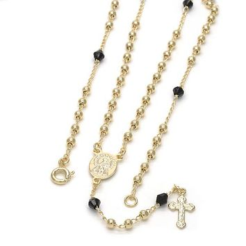 Gold Layered 09.09.0007.18 Thin Rosary, Caridad del Cobre and Crucifix Design, with Black Azavache, Polished Finish, Golden Tone