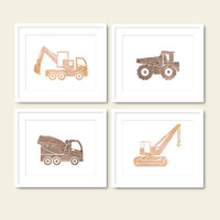 boys room truck print set printable baby boy nursery neutral beige brown wall art set of 4 decor wood texture digital instant download jpg