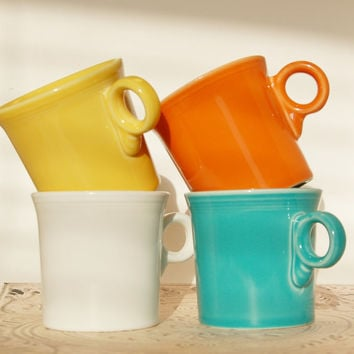Fiesta Ware Mugs Fiestaware White, Yellow, Orange, Turquoise Homer Laughlin