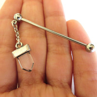 Faux Quartz Crystal Point Industrial Barbell Piercing Ear Bar Scaffold Earring Jewelry Dangle Clear Charm Piercing