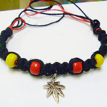Black Rasta Ganja Hemp Bracelet macrame guys unisex girls custom orders welcome