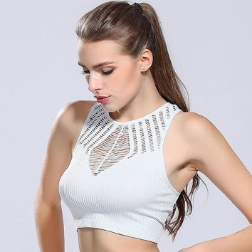 PEAPHY3 Sexy women sport bra crop tops hollow out breathable mesh summer tank tops fitness gym running sleeveless shirt yuga vest