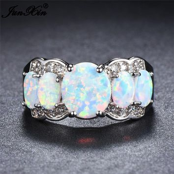 JUNXIN Female Women Oval Ring Fashion Wedding Ring White Fire Opal Stone Ring Vintage 925 Sterling Silver Filled Jewelry