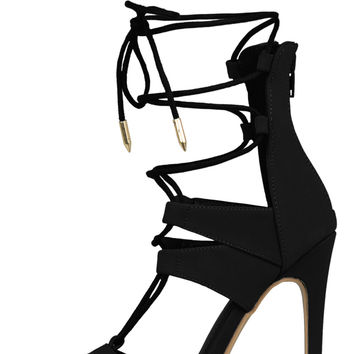 Yara Lace Up Heel (Black)