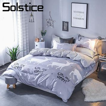 Solstice Home Textile Deer Gray Bedding Sets For Boy Kid Teenage King Queen Twin Linens Duvet Cover Pillow Cases Flat Bed Sheets