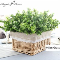 7 branch/bouquet silk fake Green Plant Artificial Milan, Artificial Grass With Leaf Ideal For decoration.