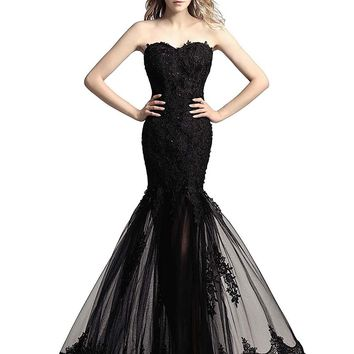 Topwedding Shipping Women's Long Tulle Strapless Ball Gown Lace Formal Evening Dresses