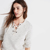 Striped Lace-Up Top : | Madewell