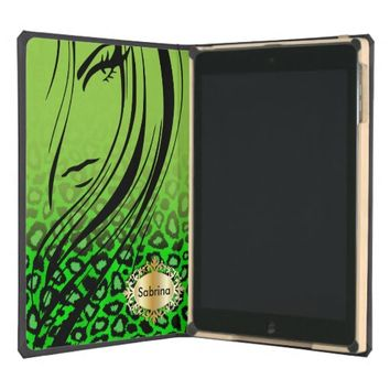Leopard Animal Print Green and Black | DIY Name iPad Air Case
