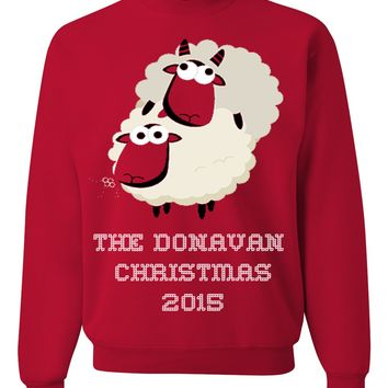 Tacky Christmas Jumper For Bad Boys & Girls - Family Name Personalized Fun & Ugly Christmas Sweater For The Holiday Season 2015 - The Year Of The Sheep Gift