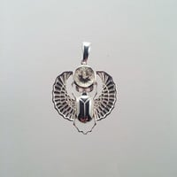 Sterling Silver Scarab Pendant with Scapolite Gem