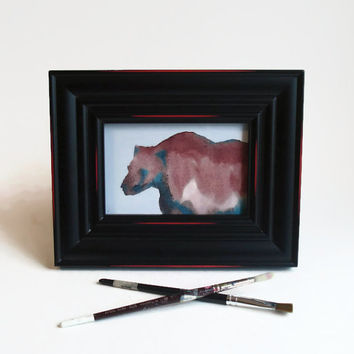 Miniature Art Print of a Grizzly Bear 4 X 6 inch