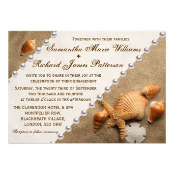 Sea Shells In The Sand, Beach Engagement Party Personalized Invitation