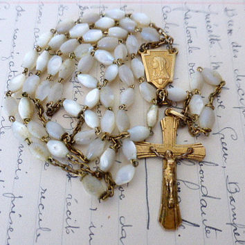 Antique French, Art Deco Mother Of Pearl, Gilt Rosary, R.G, SHIPPING INCLUDED