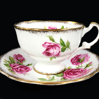 "Royal Standard ""Orleans Rose"" Shabby Pink Rose Floral Teacup and Saucer, Tea Cup Made in England J-1714"