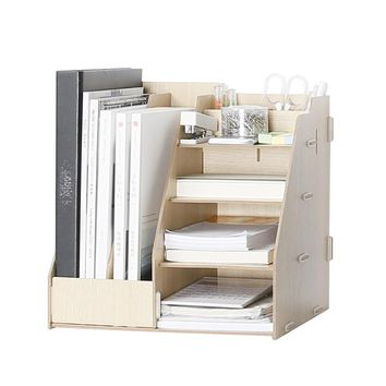 Wooden Multi-Use Desk Organizer Office Sundries Storage Box Colorful Modern Style File Racks Eco Natural Wood Stationary Holder