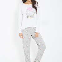 FOREVER 21 Cupcake Print PJ Set White/Heather Grey