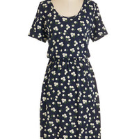 Long Short Sleeves A-line Back in the Daisies Dress