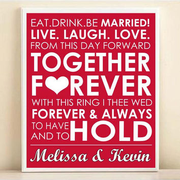Personalized Wedding Subway Art Print: 8x10 Typography Quote Poster - Wedding Decor Engagement Gift