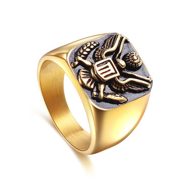 Great Seal of the United States ring vintage military insignia eagle ring 316L Stainless Steel Ring for men