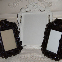 Upcycled, Picture Frame, Black Frame, White Frame, Easel Back Frame, Paris Apartment, Shabby Chic