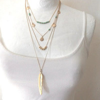 Gold filled double layered necklace  - Turquoise stone beads and coins