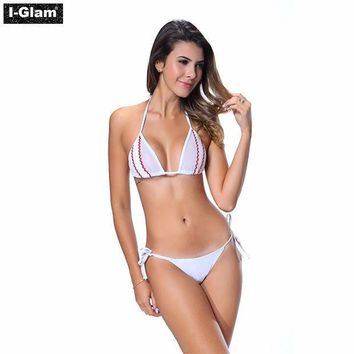 I Glam Bikini Lingerie Thong String Brazilian Swimwear Tiny Micro White Bottom Sheer Top Iglam Beach Wear