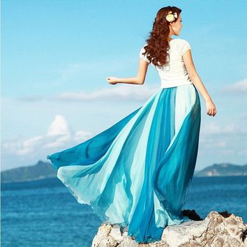 Women Fashion Double Colors Patchwork Bohemian Chiffon Long Skirt Retro Long Maxi Skirt Vintage Dress 5 Colors