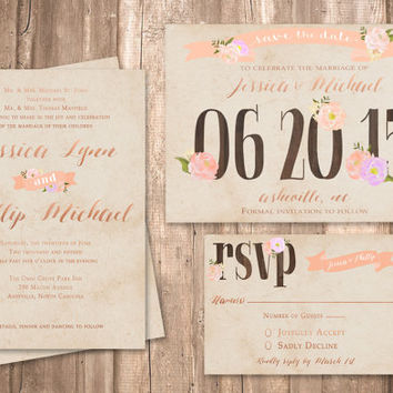 Vintage Wedding Invitation Set, Rose Gold Accents, Vintange Craft Paper Background - PRINTABLE - Digital Files
