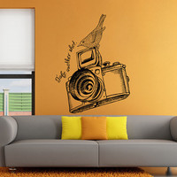 Photo Camera Wall Decal, Photo Camera Wall Sticker, Vintage Camera Photo Studio Wall Decor, Photography Decal, Home Interior Wall Art se129