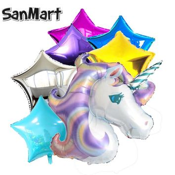 7Pcs 40inch Giant Unicorn Foil Balloons Rainbow Cartoon Kids Star Heart Balloon Decor Party Birthday Wedding Mylar Balloons