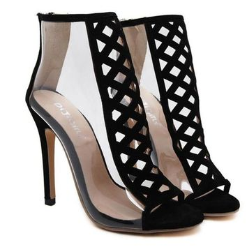 New Autumn Sexy PVC Transparent Gladiator Sandals Black Suede Cut Out Hollow Stiletto Pumps Women High Heels Zipper Ankle Boots