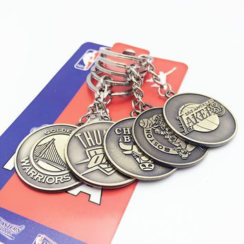 NBA team logo car key ring Basketball Association Keychain Kobe Bryant Lakers Knight Warriors basketball souvenirs car Key Ring