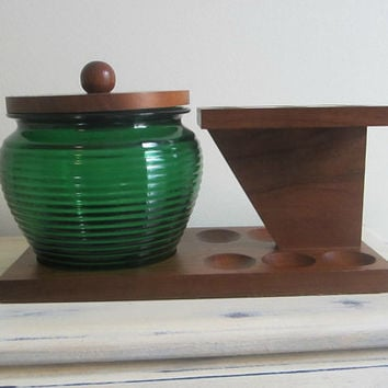 Mens Vintage Wooden 6 Pipe Stand Humidor & Tobacco Pouch Made in England