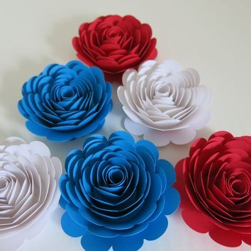 "Red, White and Blue Paper Flowers, 3"" Roses, Set of 6, American Theme Wedding Flowers, Bridal Shower Decor, Patriotic Tea Party Decorations"