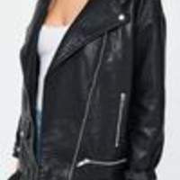 Missguided - Black Boyfriend Faux Leather Biker Jacket