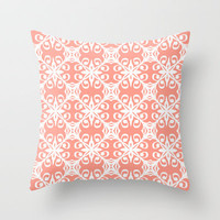 Marrakesh in Peach Throw Pillow by Lisa Argyropoulos