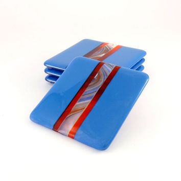 Blue and Orange Fused Glass Coasters - Drink Coasters - Set of Four - Handmade