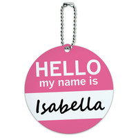 Isabella Hello My Name Is Round ID Card Luggage Tag