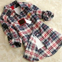 Casual Women Button Lapel Shirt Plaids & Checks Flannel Basic Shirts Tops Blouse = 1651242436