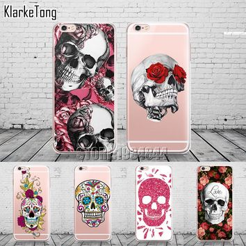 Floral Sugar Skull Case Cover For iphone 6 6S 7 8 7Plus X Silicone Transparent Cell Phone Cases