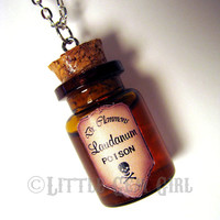 Laudanum Poison Large Glass Bottle Cork Necklace - 2 Labels - Old Vintage Antique - Potion Vial Charm - Amber Shimmer