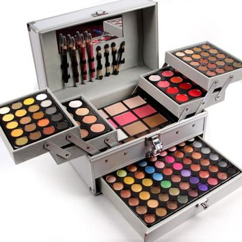 Miss Rose professional makeup set in Aluminum box three layers include glitter eyeshadow lip gloss blush for makeup artist