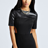 Madge Exposed Zip PU Top Playsuit