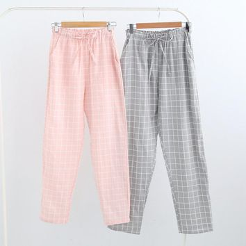 Cotton Pajamas Pants Plaid Sleep Bottoms Woven Long Pants 2018 Spring Summer Casual Lounge Wear Breathable