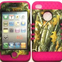 Camo 2 Oak Tree on Pink Silicone Skin for Apple iPhone 4 4S Hybrid 2 in 1 Rubber Cover Hard Case fits Sprint, Verizon, AT&T Wireless:Amazon:Cell Phones & Accessories