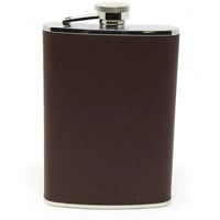 Vintage Leather Wrapped Flask - Brown Leather Wrapped Flask - Groomsmen Gift - Gift for Dad - Gift for Him - Unique Gift Ideas
