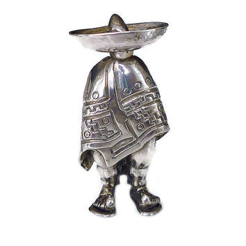 SAUL Brooch, Sterling Silver, Mexico, Mexican Man, Sombrero Poncho, 925, Vintage Jewelry