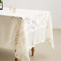 Camellia Tablecloth by Anthropologie White 108 X 69 Kitchen